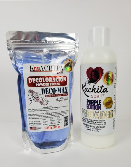 Kachita Powder Bleach Blue Deco-Max plus + Developer Peroxide 20% Purple