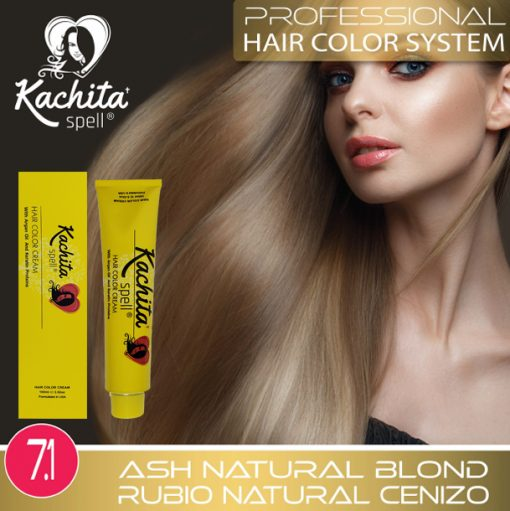 Ash Natural Blond 7.1 Hair Color Cream Kachita Spell